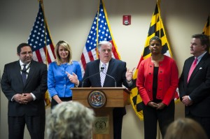 Maryland Gov.-elect Larry Hogan, center, announces four cabinet secretaries from left, Sam J. Abed, Department of Juvenile Services; Del. Kelly M. Schulz (R-Frederick), Secretary of Labor; C. Gail Bassette, Department of General Services; and James D. Fielder, Jr., Secretary of Appointments, on Wednesday in Annapolis. (Katherine Frey/The Washington Post)