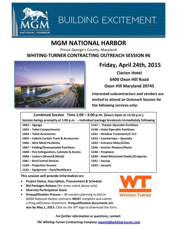 MGM National Harbor Whiting-Turner Contracting Outreach Session #6