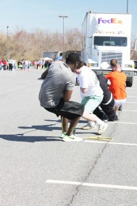A student team from last year's Truck Pull at Anne Arundel Community College pull hard trying for the fastest time in pulling an empty delivery truck. This year's 4th Annual AACC Truck Pull will include more competitions in truck loading and supply chain relays. It happens from 10 a.m. to 1 p.m. April 23, in Parking Lot C of the Arnold campus, 101 College Parkway. For more information, visit http://www.aacc.edu/business/truckpull.cfm.