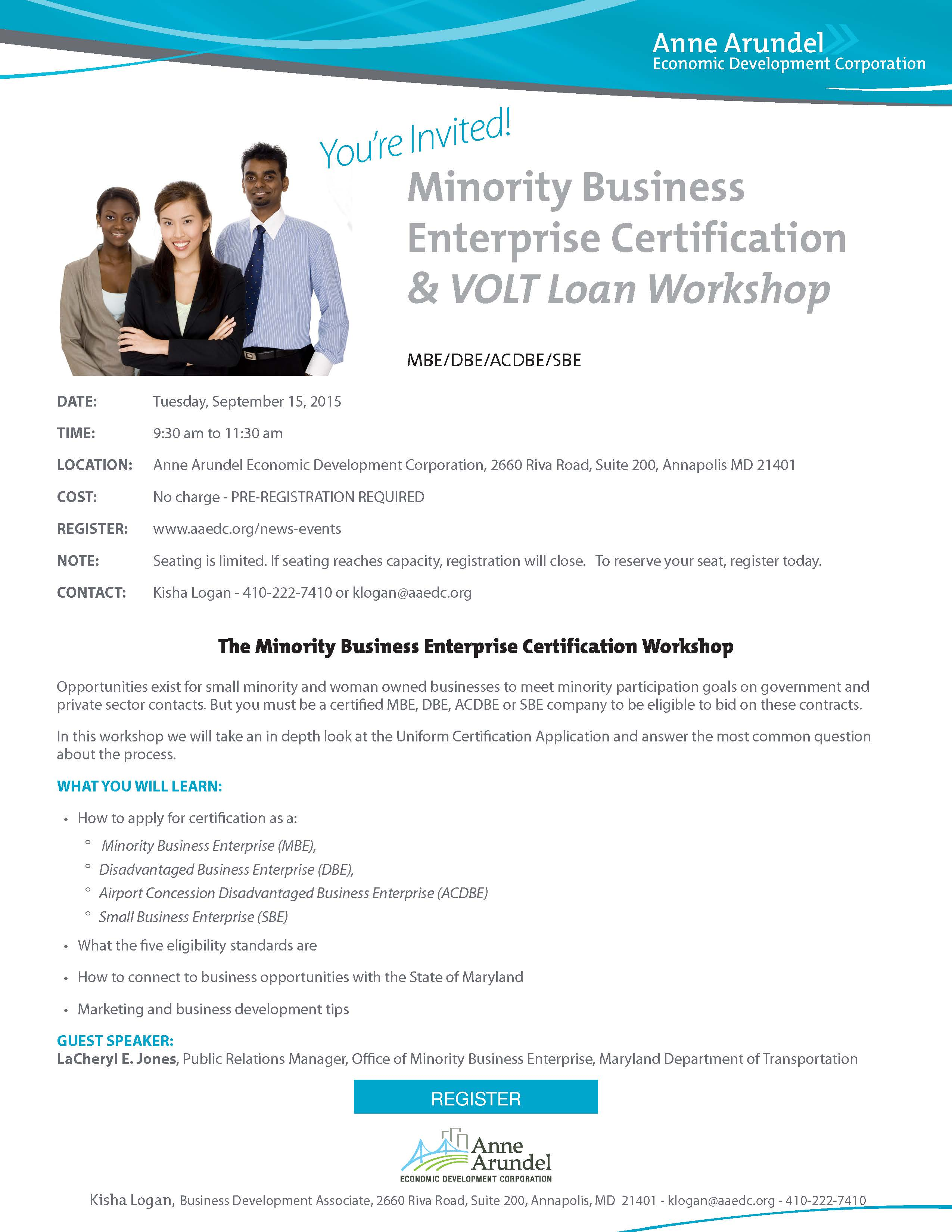 The Minority Business Enterprise Certification Workshop September 15