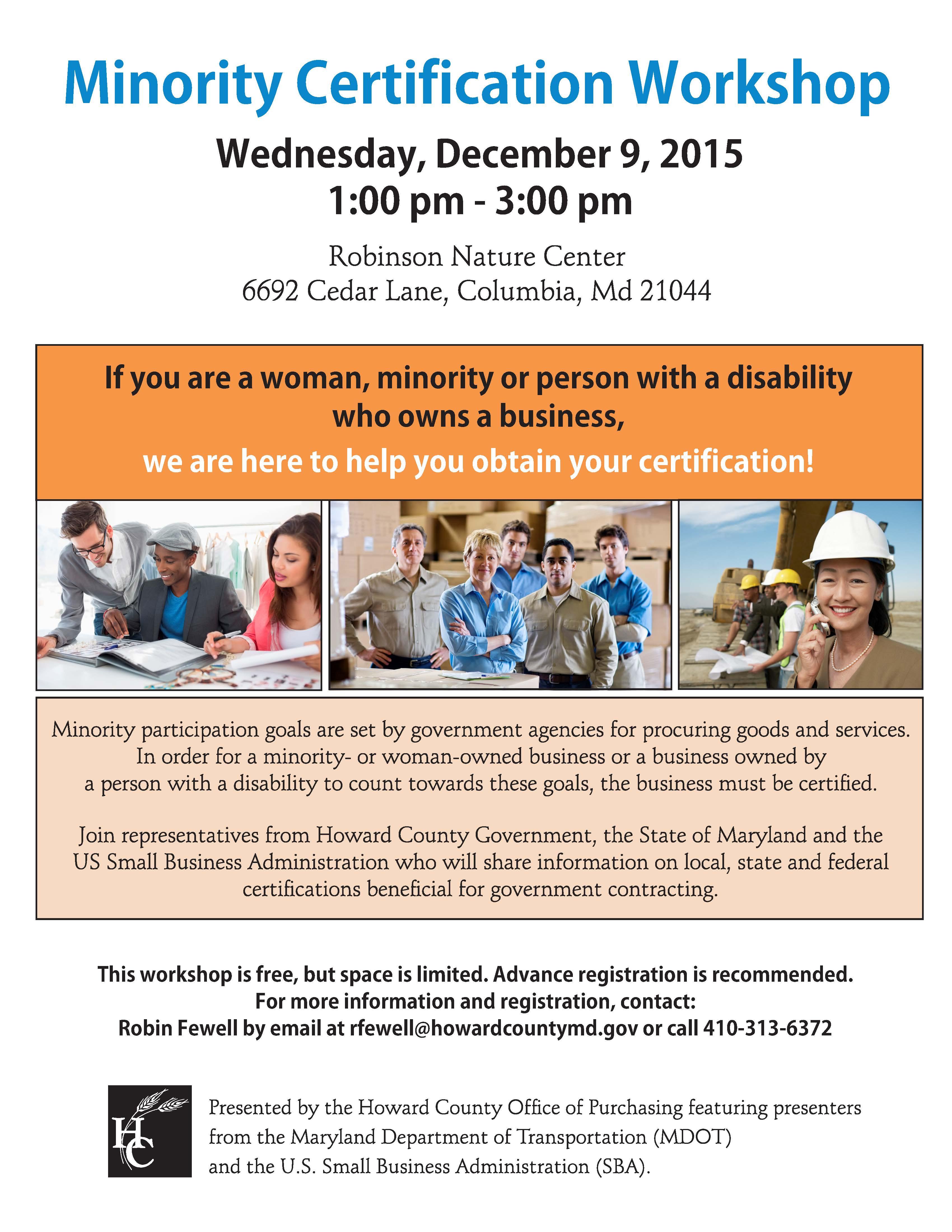 Free Minority Certification Workshop December 9 2015 Chamber News