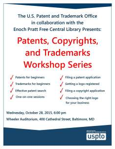 US Patent and Trademark Office_Baltimore Enoch Pratt Patent Trademark Copyright workshops